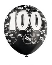 100th Birthday Black Glitz Latex Balloons 12 inch
